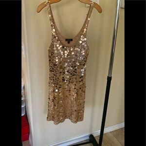 Bebe gold sequins tank dress.